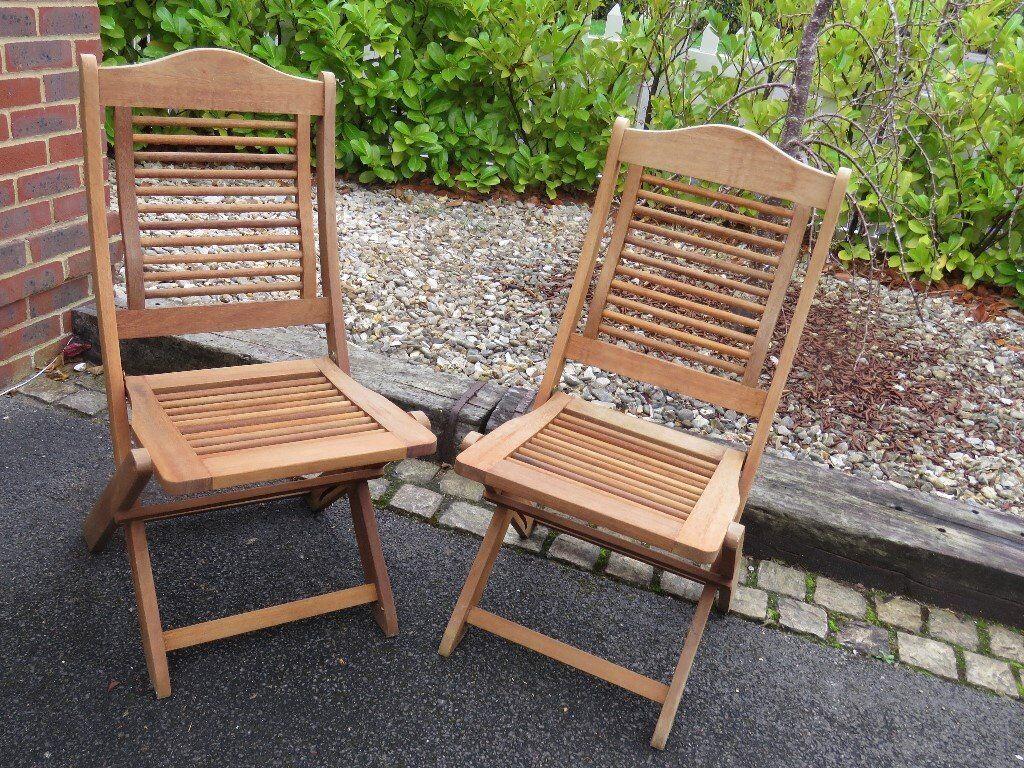 4 Folding Wooden Garden Chairs