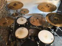 AD Drums custom matt black kick with gold hardware for sale (plus cymbals and cases)