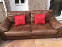 3 piece (2 chairs and sofa) Brown Leather Sofa / Couch - good condition