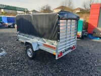 BRAND NEW 8.7x4.2 SINGLE AXLE TRAILER WITH FRAME AND COVER AND RAMP TIPPING