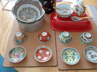 Chinese porcelain rice bowls, spoons, teacups, saucers or condiment dishes, large rice bowl and more