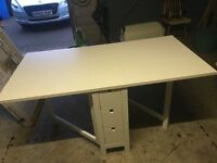Ikea norden gateleg table white BRAND NEW assembled but completely unused + two white dining chairs