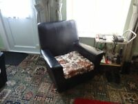 Sofa and 2 armchairs. Genuine 1960s black vinyl. Button missing from sofa, otherwise VGC