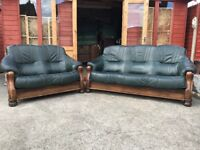 Green Leather Suite Italian Style 3 Seater Sofa & 2 Seater Sofa - Delivery Available
