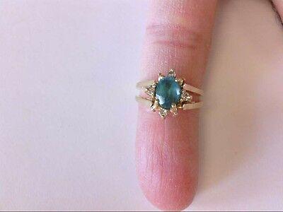 Flip 14k Ring (Interesting 14K YG Reversible/Flip Blue Topaz/Diamond Cluster Ring. GIFT READY!! )