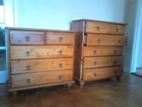 2 x matching Solid Pine CHEST OF DRAWERS ( Different heights )