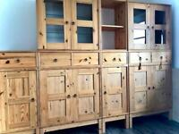 IKEA STORAGE PINE COMBINATION UNITS/CUPBOARDS DRAWERS GLASS SHELVING CABINETS