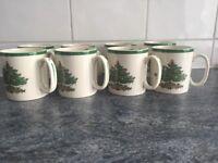 Spode Christmas Tree mugs - set of 8