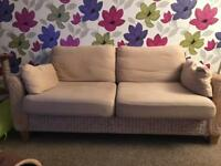 NEXT cream wicker 3 seater sofa