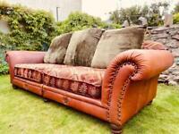 Tetrad Eastwood Vintage Grand Sofa Buffalo Leather and Kilim Salmon Fabric