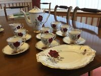 Beautiful 'Roses to Remember' Royal Stafford Bone China Coffee Set in Very Good Condition