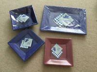 Essential Housewares Reusable plastic square bowls plates & rectangle Trays NEW