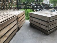 6 Apple Crates + 5 Wooden Boxes – Vintage – Outdoor