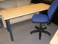 Large Light Wood Finish Office Desk or Table. With Tubular Metal Legs