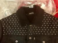 """Moschino Men's BRAND NEW Black """"Silver-Stud"""" Jacket with Faux Fur"""