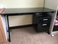 Black desk, good condition, glass top