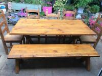 6ft farmhouse dining table 5 chairs and bench
