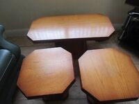 Solid wood coffee table and 2 matching lamp tables.