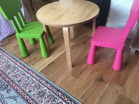 **Excellent Condition** Solid Wood Round Children's Table With 2 chairs Ikea & wayfair plastic chair