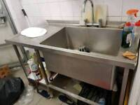 Stainless steel commercial sink with mixer tap