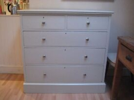 Lovely Large Vintage Chest of Drawers - Professionally finished in Farrow & Ball Eggshell
