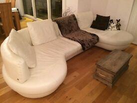 Natuzzi white leather sofa