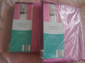 Two pair of pink blackout curtains with pencil pleat tops bnib