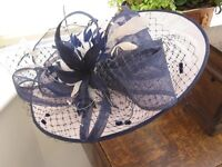 Mother of the Bride Coast Pink Lace Dress, Small Size 12. Bespoke Navy and Pink Hat