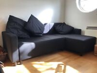 Ikea Corner Sofa Bed BLACK - mint condition - RIGHT Chaise Longue