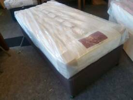 Bed - Quality Pocket Spring ' Hypnos ' Single Mattress and Brown Divan Base