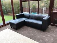 Black Leather Corner Sofa Good Condition