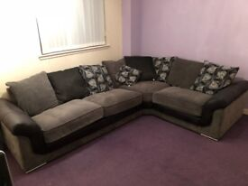 Black/charcoal & silver corner sofa
