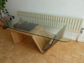 Glass Coffee Table with integrated wooden shelf and magazine rack