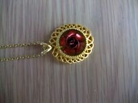 Gold Plated Red Rose Necklace
