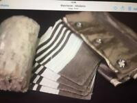 2 pairs of curtain 46x90 drop 4 cushion covers fur blacket