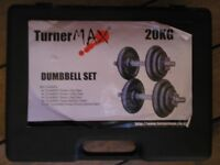 Turner Max 20kg Cast Iron Dumbbell Set + Dumbbell bars with weight plates+ Various hand stregtheners