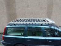 Genuine Volvo large alloy roof rack with fittings for any car with roof rails