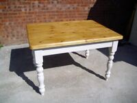 Stripped Top Solid Pine Kitchen Dining Table 4ft x 3ft Painted Base 40mm Thick