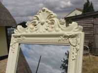 A FRENCH STYLE CHEVAL FREESTANDING MIRROR IN CREAM EXCELLENT CONDITION.