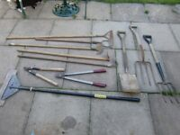 garden tools all £3 each forks , spade , hoes , loppers , floor scaper all £3 each