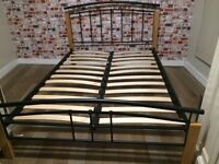 Double metal/wood bed frame with mattress, good condition
