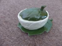 Carlton Ware LEAF Lidded Jam/ Preserve Pot and Saucer (2372)