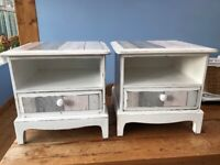 Pair Upcycled White Crafted Decoupage Shabby Chic Bedside Tables with Drawer
