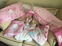 Baby girls pink nursery items (10 items), cot bedding, mobile, 2 wall pictures. Excellent condition.