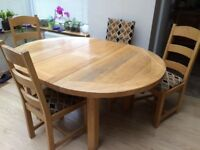 Solid wood extending table and (upholstered seat) chairs, sits 4-6, 120cm round extending to 160