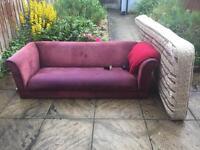 Free purple sofa , red velveteen throw and single orthopaedic mattress