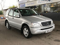 2002 52 MERCEDES-BENZ M CLASS,3.2 ML320 5d 215 BHP**ONLY 67K MILES**PART EX TO CLEAR**