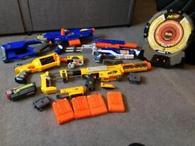 5 Nerf Guns, Glasses, Ammo and Target board