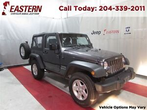 2014 Jeep Wrangler SPORT 3.6L 4X4 SOFT TOP MT  *LOW KMS ONE OWNE