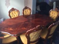 Table with 6 matching chairs - Mustard colour with studded detail - **Collection Only**